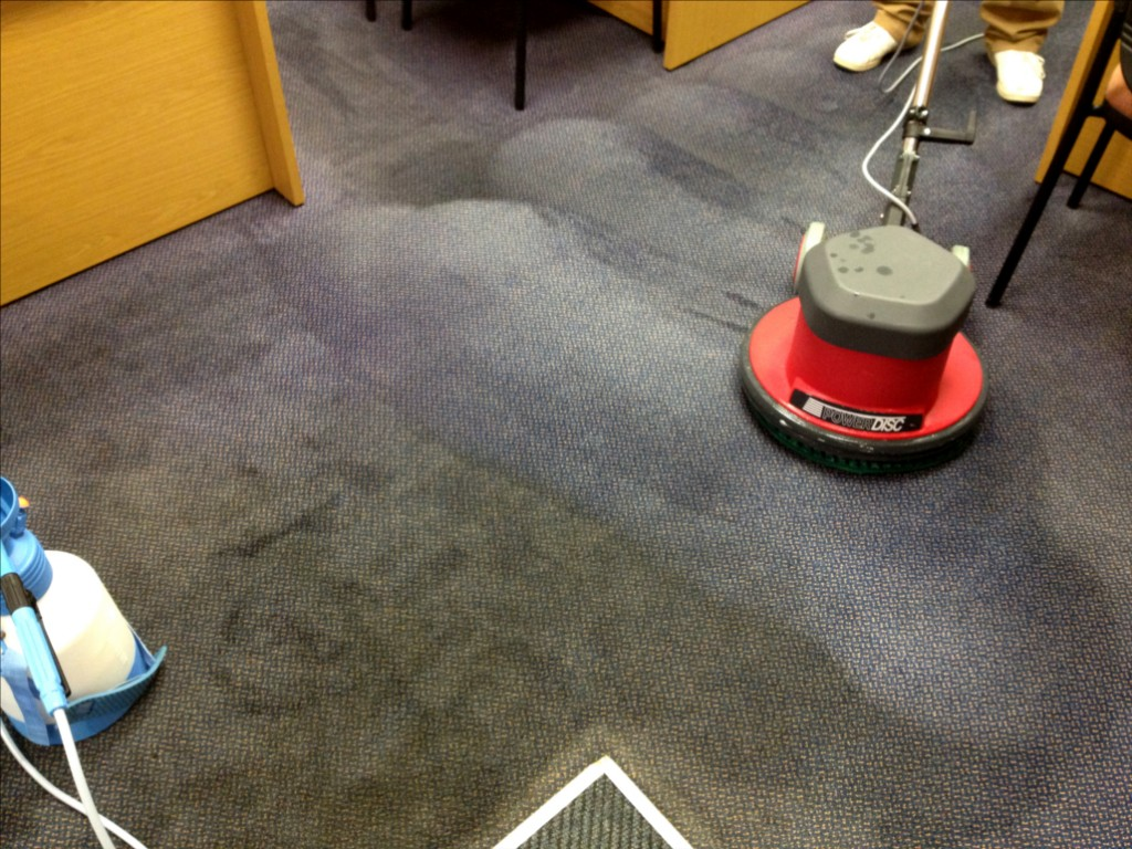 The before and after of an office carpet